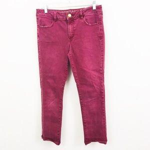 American Eagle Maroon Jegging Crop Jeans